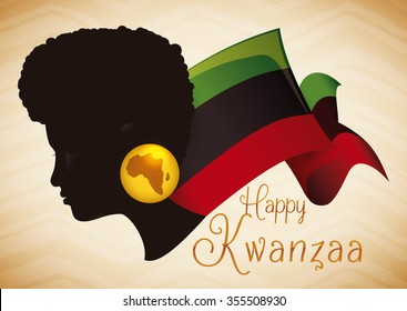 Afro-American woman silhouette wearing earring  with the map of Africa and traditional Kwanzaa flag.
