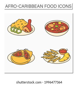 Afro-Caribbean food color icons set. Jollof rice and fried stewed chicken, efo egusi, meat pie, boiled ghanaian yarn. Local food concept. Isolated vector illustrations
