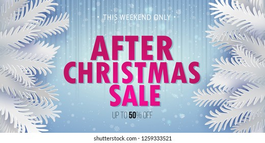 After Christmas Clearance Sale banner. White paper art craft cut out fir tree branches on sides of blue background. Vector illustration. Retro design.