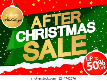 After Christmas Sale, 50% off, poster design template, special offer, Xmas discount, vector illustration