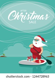 After Christmas sale template background with Cartoon Santa Claus relaxing on his stand up paddle board in the tropics. Eps10 vector illustration.