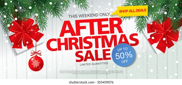 After Christmas sale. Vector banner