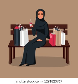 After day shopping Arab woman sitting on a bench surrounded by colorful bags and drinking coffee. Vector illustration isolated from background