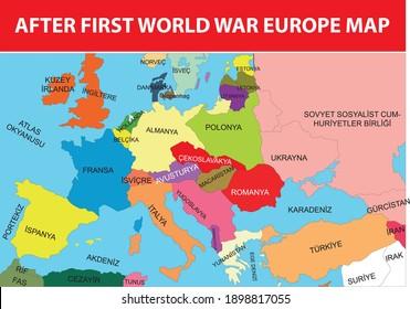 after first world war europe map turkish history