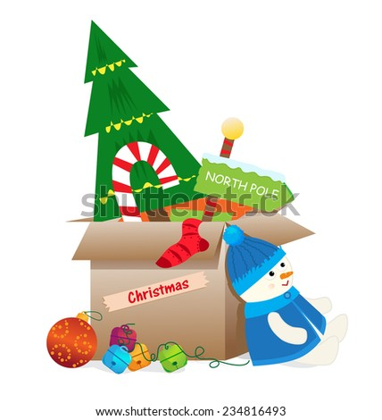 after the holidays cardboard box with christmas decorations are ready to get into storage - Cardboard Box Christmas Decorations