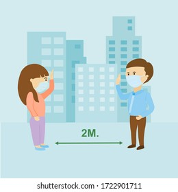 After lock down people change lifestyle to be new normal when go outside home such as keep distance,wearing mask and no shaking hands for safe from coronavirus.vector illustration.