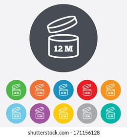 After opening use 12 months sign icon. Expiration date. Round colourful 11 buttons. Vector