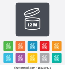 After opening use 12 months sign icon. Expiration date. Rounded squares 11 buttons. Vector