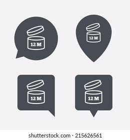 After opening use 12 months sign icon. Expiration date. Map pointers information buttons. Speech bubbles with icons. Vector