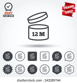 After opening use 12 months sign icon. Expiration date. Circle, star, speech bubble and square buttons. Award medal with check mark. Thank you ribbon. Vector