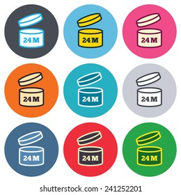 After opening use 24 months sign icon. Expiration date. Colored round buttons. Flat design circle icons set. Vector