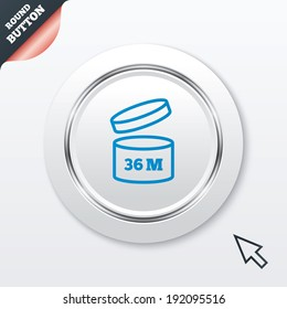 After opening use 36 months sign icon. Expiration date. White button with metallic line. Modern UI website button with mouse cursor pointer. Vector