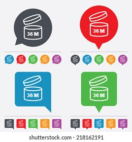 After opening use 36 months sign icon. Expiration date. Speech bubbles information icons. 24 colored buttons. Vector