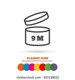 After opening use 9 months sign icon. Expiration date. Classic flat icon. Colored circles. Vector