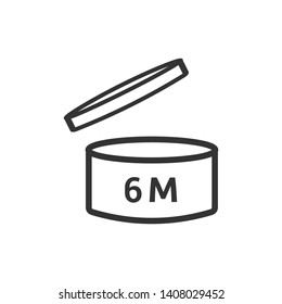 After opening use expiration date 6 months of product icon. PAO symbol modern simple vector icon