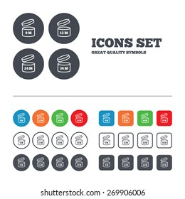 After opening use icons. Expiration date 9-36 months of product signs symbols. Shelf life of grocery item. Web buttons set. Circles and squares templates. Vector