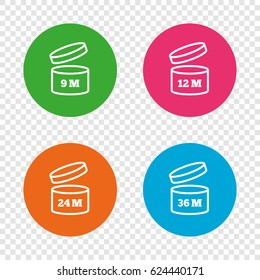 After opening use icons. Expiration date 9-36 months of product signs symbols. Shelf life of grocery item. Round buttons on transparent background. Vector