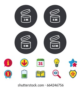 After opening use icons. Expiration date 6-12 months of product signs symbols. Shelf life of grocery item. Calendar, Information and Download signs. Stars, Award and Book icons. Vector