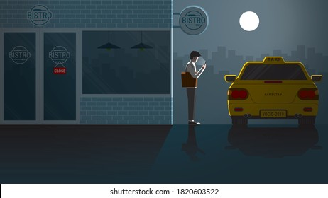 After party Friday night at closed bistro cafe. Lonely Asian office man use smart phone waiting for taxi public transportation alone in the dark and full moon light. City lifestyle of first jobber.