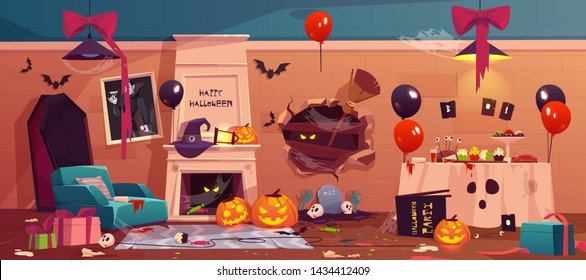 After party mess in Halloween decorated room, empty messy dirty afterparty interior with scattered litter and garbage, broken holiday accessories and food scraps on floor, Cartoon vector illustration