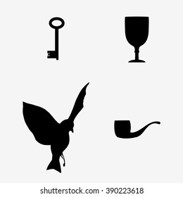 "after Rene Magritte monochrome pattern ""The Liberator"". dove, pipe, key, glass.Vector Illustration"