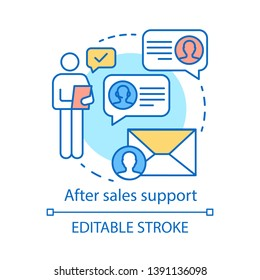 After sales support concept icon. Help desk service idea thin line illustration. CRM system. Customer relationship management. Product guarantee. Vector isolated outline drawing. Editable stroke