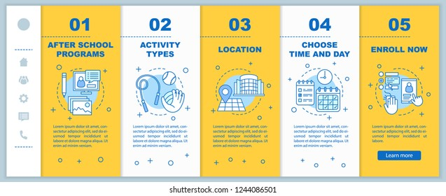 After School Education Onboarding Mobile Web Stock Vector Royalty