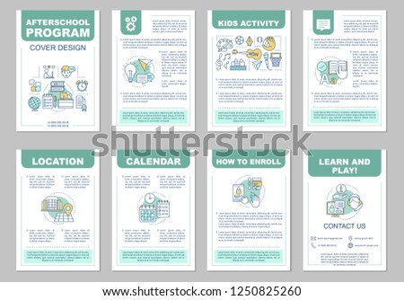 After School Program Brochure Template Layout Stock Vector Royalty
