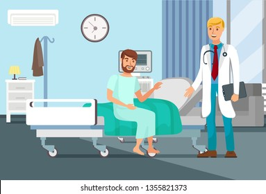 After Surgery Observation Flat Vector Illustration. Patient Sitting on Bed, Doctor with Stethoscope Cartoon Characters. Young Man in Clinic Concept. Hospital Interior Banner
