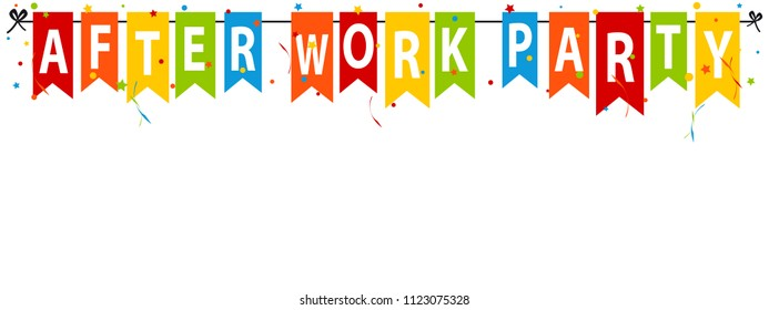After Work Party - Colorful Flags With Confetti And Streamers - Vector Illustration