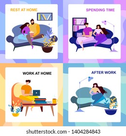 After Work, Rest at Home, Spending Time Banner Set. Cartoon People Indoors Rest and Read. Computer Freelance Work Vector Illustration. Couple Watch TV, Romantic Evening Family Entertainment