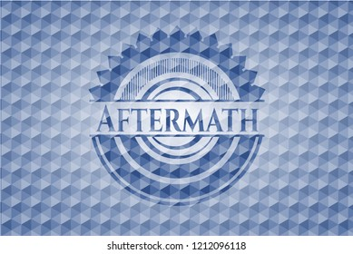 Aftermath blue badge with geometric pattern background.