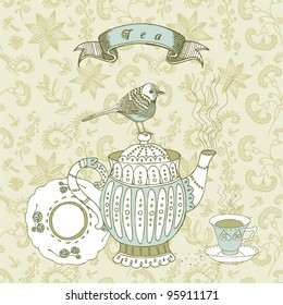 afternoon tea and bird graphic