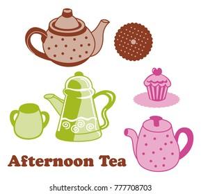 Afternoon tea biscuit,tart, for print design