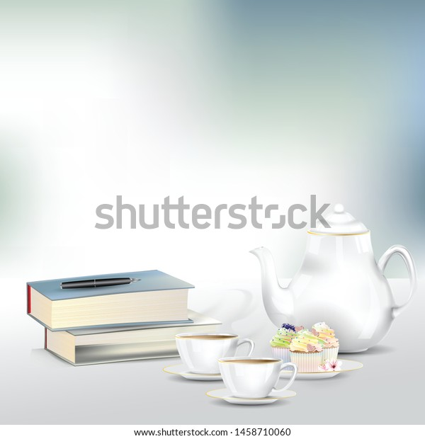 Afternoon Tea Coffee Set Books Pile Stock Vector Royalty Free