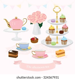 Afternoon Tea Vector Design Illustration