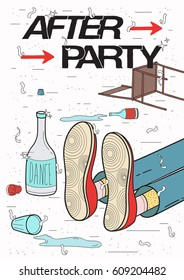 Afterparty placard. Drunk, tired guy asleep, resting of drinking. Funny party poster. Colorful Illustration.