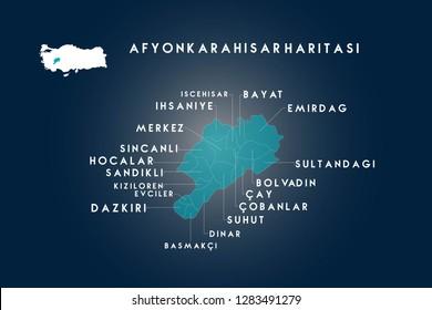 Afyonkarahisar iscehisar, ihsaniye, sincanli, hocalar, sandikli, kiziloren, evciler, dazkiri, basmakci, dinar, suhut, cobanlar, cay, bolvadin, sultandagi, emirdag, bayat map, Turkey