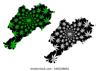 Afyonkarahisar (Provinces of the Republic of Turkey) map is designed cannabis leaf green and black, Afyonkarahisar ili (Afyon Province) map made of marijuana (marihuana,THC) foliage,