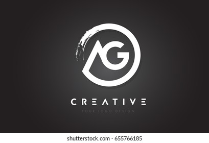 AG Circular Letter Logo with Circle Brush Design and Black Background.