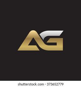 AG company linked letter logo golden silver black background