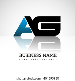 AG company linked letter logo icon blue and black
