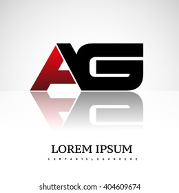 AG company linked letter logo icon red and black