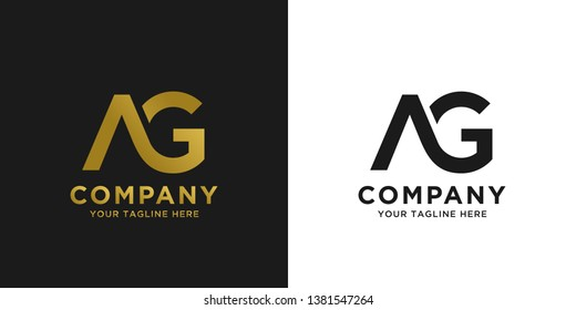AG elegant logo template in gold color, vector file .eps 10, text and color is easy to edit
