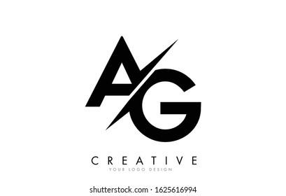 AG A G Letter Logo Design with a Creative Cut. Creative logo design.