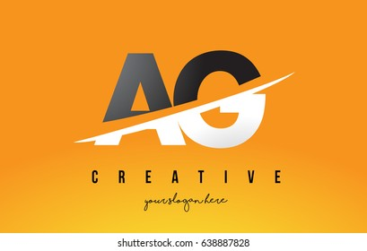 AG A G Letter Modern Logo Design with Swoosh Cutting the Middle Letters and Yellow Background.