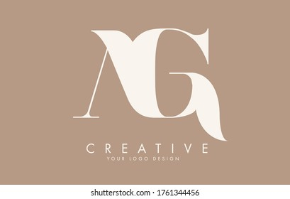 AG A G letters logo design with pastel colors. Vector Illustration with A and G letters.