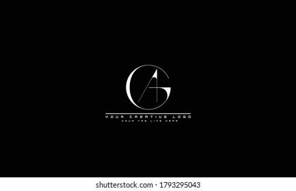 AG GA abstract vector logo monogram template