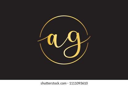 ag ga a g Lowercase Circular Cursive Letter Initial Logo Design Template Vector Illustration