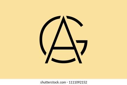 AG GA G A Uppercase Letter Initial Logo Design Template Vector Illustration